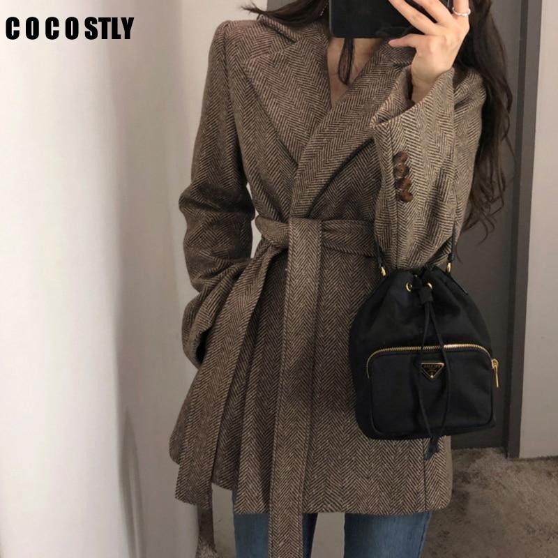 New Autumn Winter Chic Korean Wool Blazer With Belt Vintage Suit For Women Long Sleeve Office Lady Suit Jacket OL Coat Outwear