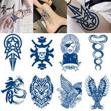Semi-permanent Waterproof Temporary Tattoo Skull Snake Flower Body Art Tattoo Sticker Full Fake Tatoo Women Men