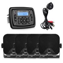 Marine Radio Bluetooth Stereo Audio Receiver Sound System Car MP3 Player For RV UTV Pool+4inch Marine Speakers+Boat USB Cable