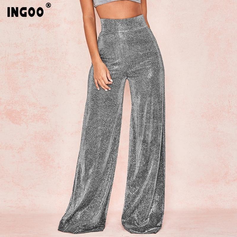 INGOO Summer Fashion Glitter Wide Leg Trousers High Waist Zipper Black Sliver Casual Women Pants  Loose Palazzo Trouser Female