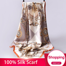 90x90cm Square Silk Scarf Luxury Brand Women Bandana Floral Head Scarves Stoles Pure Scarfs Shawls
