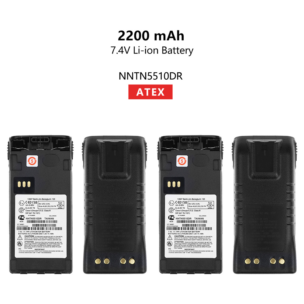 2 Pcs NNTN5510DR 2200mAh ATEX Replacement Li-ion Battery For Motorola GP329EX GP339EX PTX760EX GP340 GP380 GP580 GP680 Radios