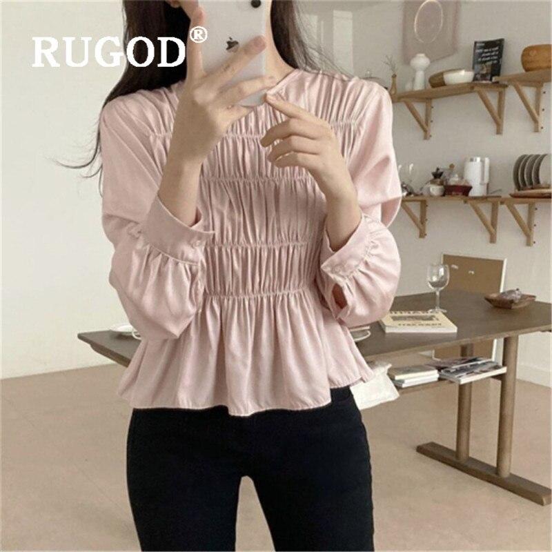 RUGOD, модная плиссированная туника, блузка, женская, 2020, повседневная, консервативный стиль, круглый вырез, длинный рукав, рубашка, элегантная,...
