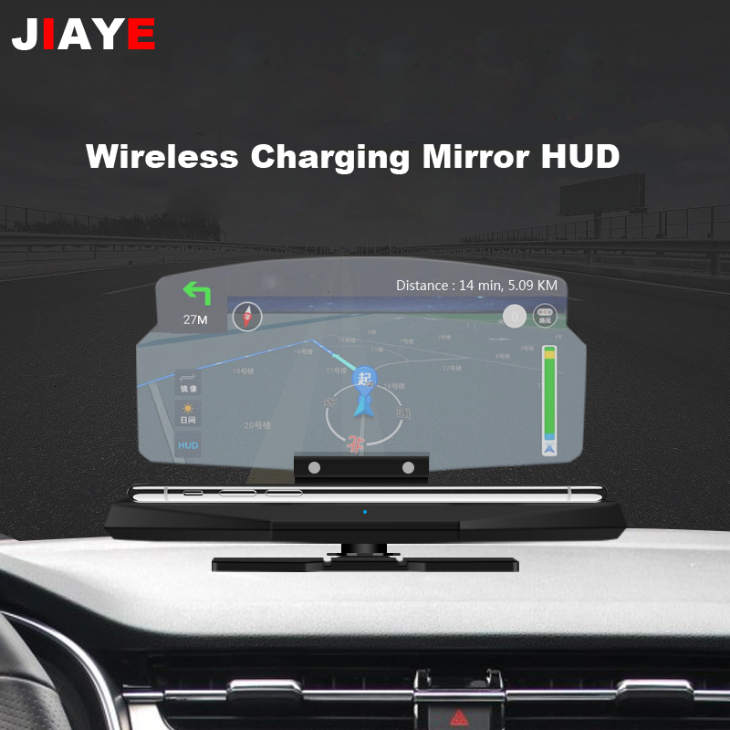 Car Head-up Display Universal Smartphone Windshield Projector Auto HUD GPS Navigator Holder With Wireless Charging Self-adhesive