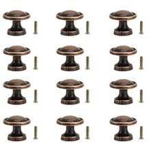 25Mm Vintage Copper Knobs Antique Round Cupboard Cabinet Drawer Kitchen Door Pull Handles (12Pack)(China)