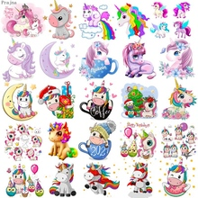 Prajna Unicorn Patches Iron On Patches For Clothing Cartoon Patch Heat Transfer Patches Thermal Sticker Cute Iron On Transfer