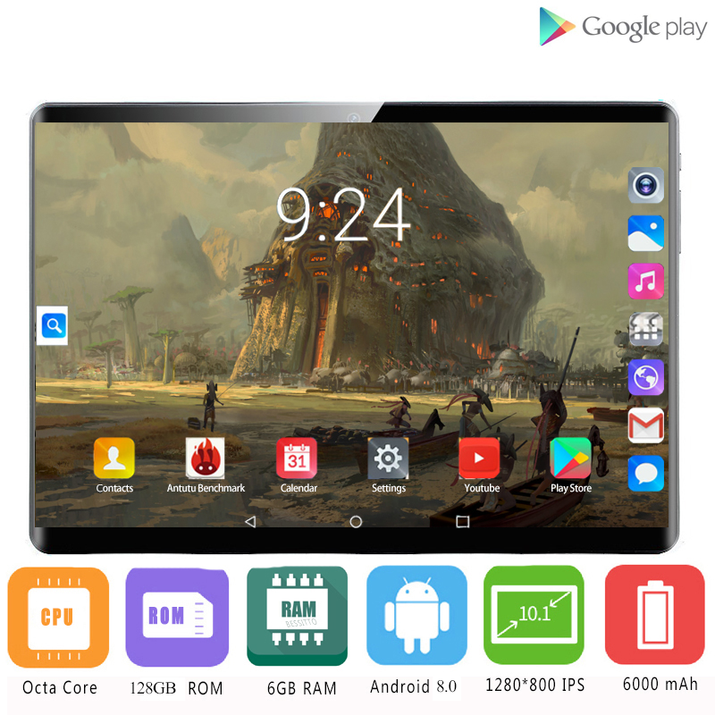 2020 2.5D Tempered Glass Android 8.0 New Google 10.1 Inch Tablet PC 8 Core 6GB RAM 128GB ROM GPS IPS Tablets For Kids Android