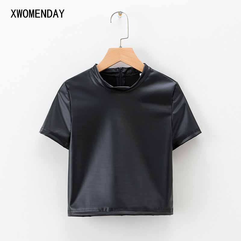 Black Stand Collar Simple Leather T-Shirt Women Slim Wild Tees Autumn Fashion Office Ladies Skinny Tops Chic Peplum