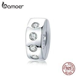Bamoer 925 Sterling Zilver Eenvoudige Dazzling Zirkoon Charm Clip Fit Originele Bedels Armbanden Voor Vrouwen Diy Sieraden Maken BSC165