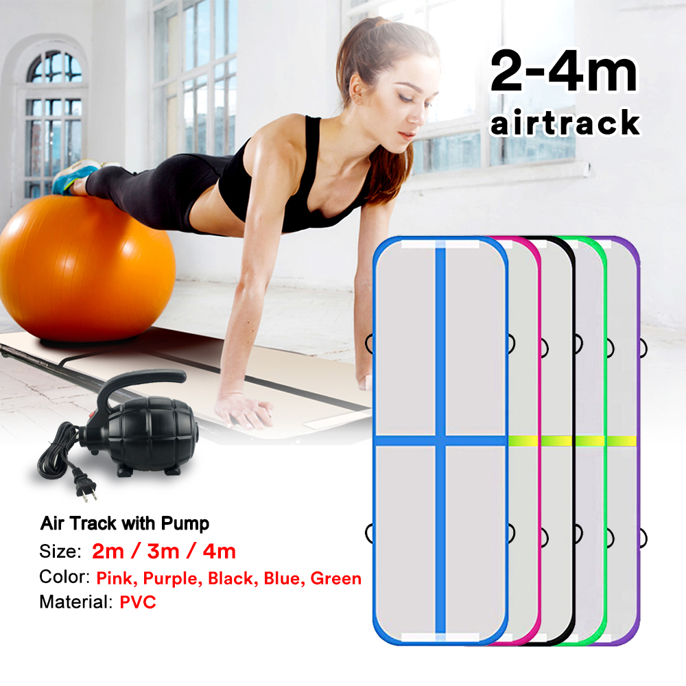 2m 3m 4m Inflatable Air Track with Air Pump Gymnastics Professional Airtrack Yoga Sport Wrestling Buffer Prevent Injuries Mats