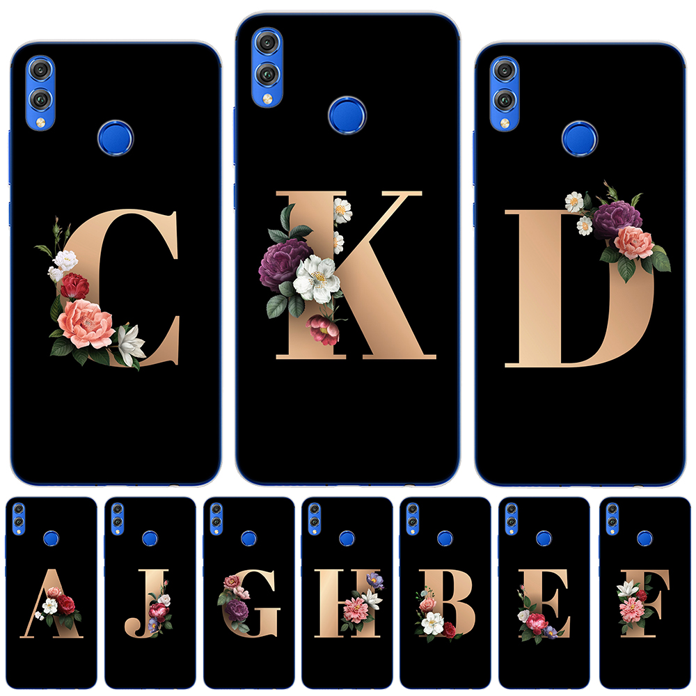 Flower 26 English Name Letters Custom New Soft Silicone Phone <font><b>Case</b></font> Cover For <font><b>Huawei</b></font> Honor 9 10 20 Lite Pro 10i 9X Pro <font><b>Y5</b></font> <font><b>2018</b></font> image