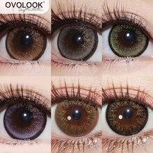 OVOLOOK-2pcs/par belas lentes 6 lentes coloridas tom dourado pó série lentes de contato lente cor do olho (diâmetro: 14.5mm)