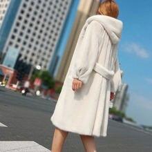 Женское бархатное пальто средней длины из искусственной норки