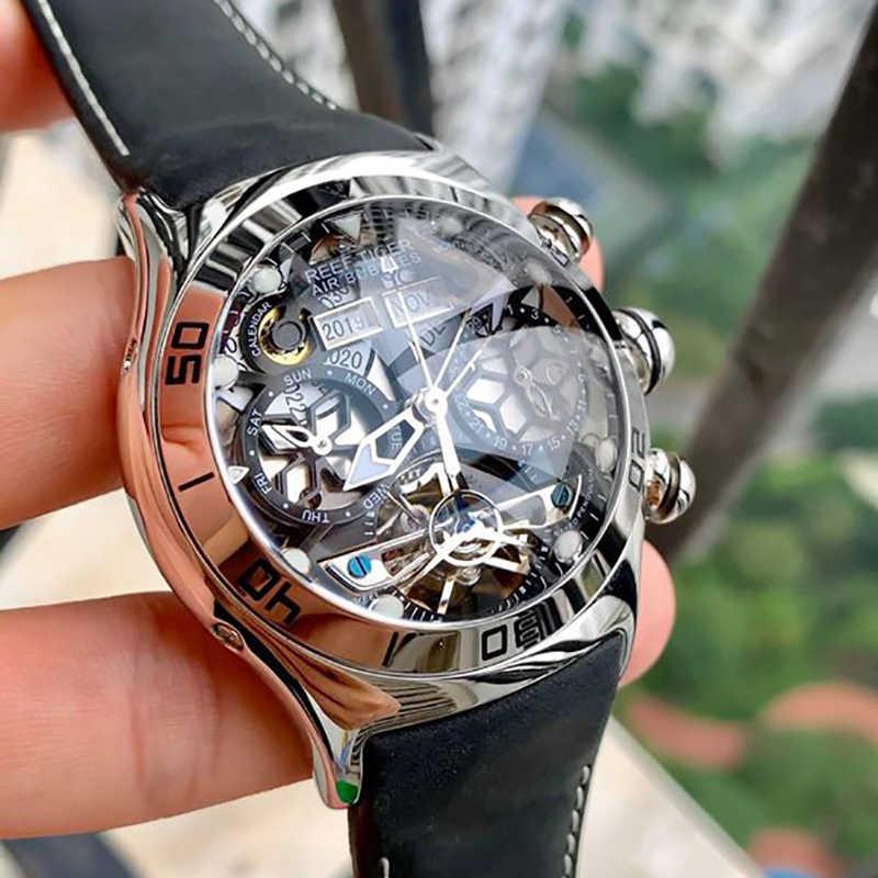 Reef Tiger/RT Mens SPORT นาฬิกาโครงกระดูกอัตโนมัตินาฬิกากันน้ำ Tourbillon นาฬิกาวันที่ reloj hombre RGA703