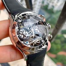 Reef Tiger/RT relojes deportivos para hombre, reloj automático de esqueleto, de acero, resistente al agua, Tourbillon, con fecha, reloj para hombre RGA703