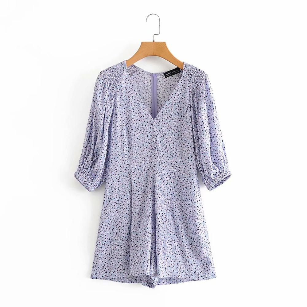 New 2020 Women Elegant V Neck Shoulder Pleated Print Playsuits Ladies Puff Sleev Casual Slim Conjoined Shorts Chic Siamese P818