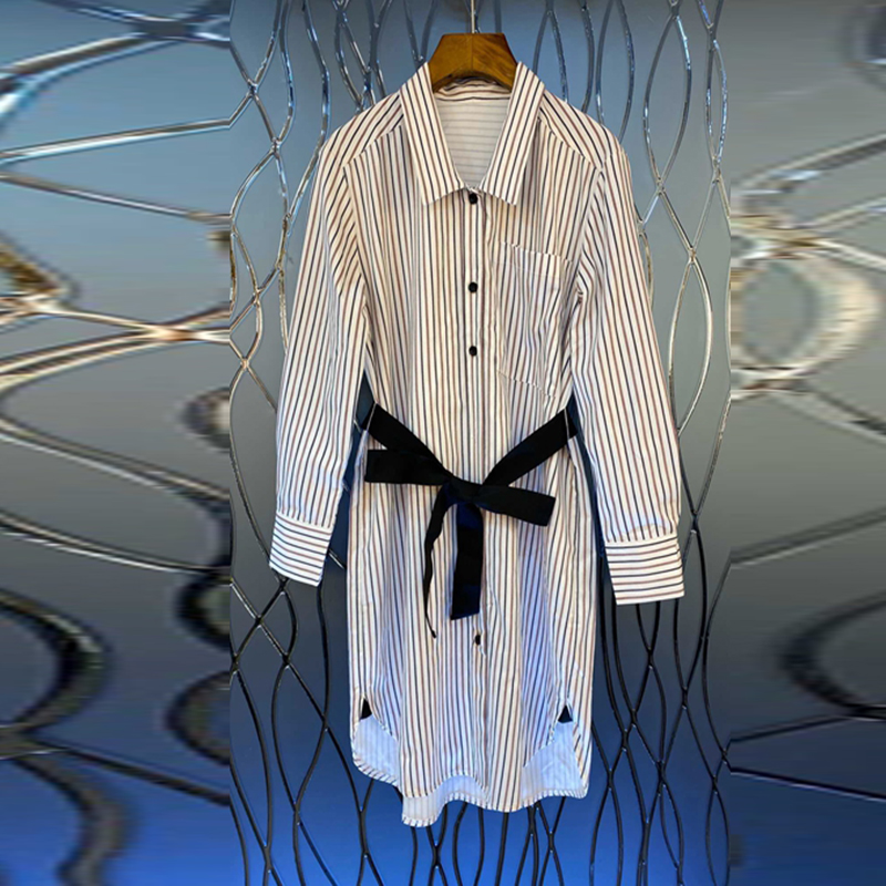 SuperAen 2020 Spring New Women's Dress Lapel Fashion Cotton Casual Ladies Dress Long Sleeve Stripes Women Clothing