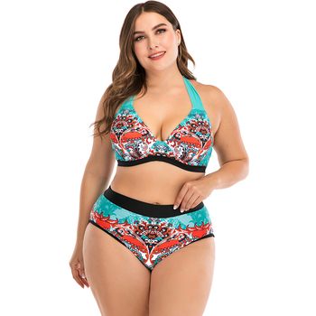 цена на Lunamy 2020 Sexy Halter Top Bikini Set Women Plus Size Swimwear Backless Two Piece Swimming Suit Retro Printed Bathing Suits