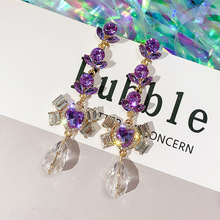 S925 Silver Needle Fashion exaggerated Purple Love earrings luxury atmosphere long female statement