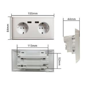 Image 5 - USB הכפול יציאת חשמל קיר מטען מתאם כוח שקע גרמנית/צרפתית 2AC לשקע פנל צלחת שקע