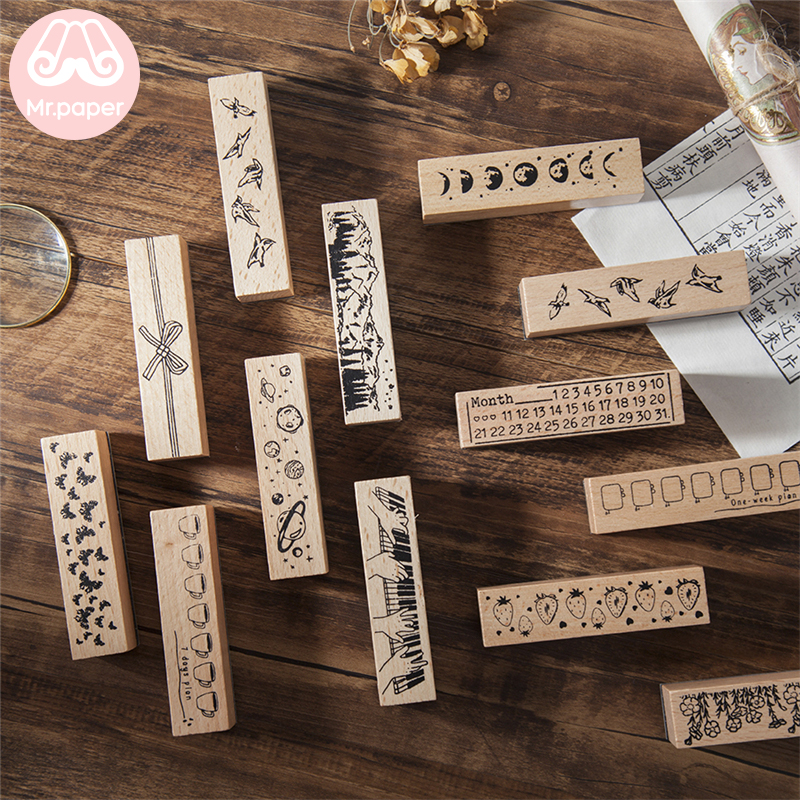 Mr Paper 12 Designs Planet Moon Flowers Number Piano Wooden Rubber Stamp for Scrapbooking DecoDIY Craft Standard Wooden Stamps 1