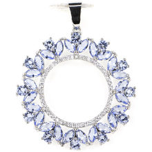 43x35mm SheCrown Big Round Shape Rich Blue violet Tanzanite CZ Wedding Silver Pendant(China)