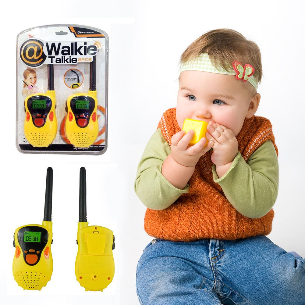 2pcs 80-100m Children Walkie Talkies Comfortable Handle Function With Flashlight Handheld Electronic Radio Kids Educaton Toy