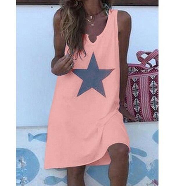 Women 2021 Loose Vintage Star Print Cotton Dress Large Big Summer  Party Beach Dresses Plus Sizes 4