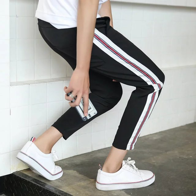 Summer Wear Men Korean-style Capri Casual Pants Sports Harem Pants Sub-Slim Fit Versatile Stripes Webbing Sweatpants Stretch Pan