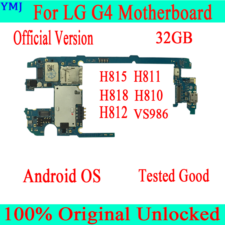 100% Original Unlocked <font><b>Motherboard</b></font> For <font><b>LG</b></font> G4 <font><b>H815</b></font> H811 H818 H810 H812 VS986 With Chips Android System Logic MainBoard image