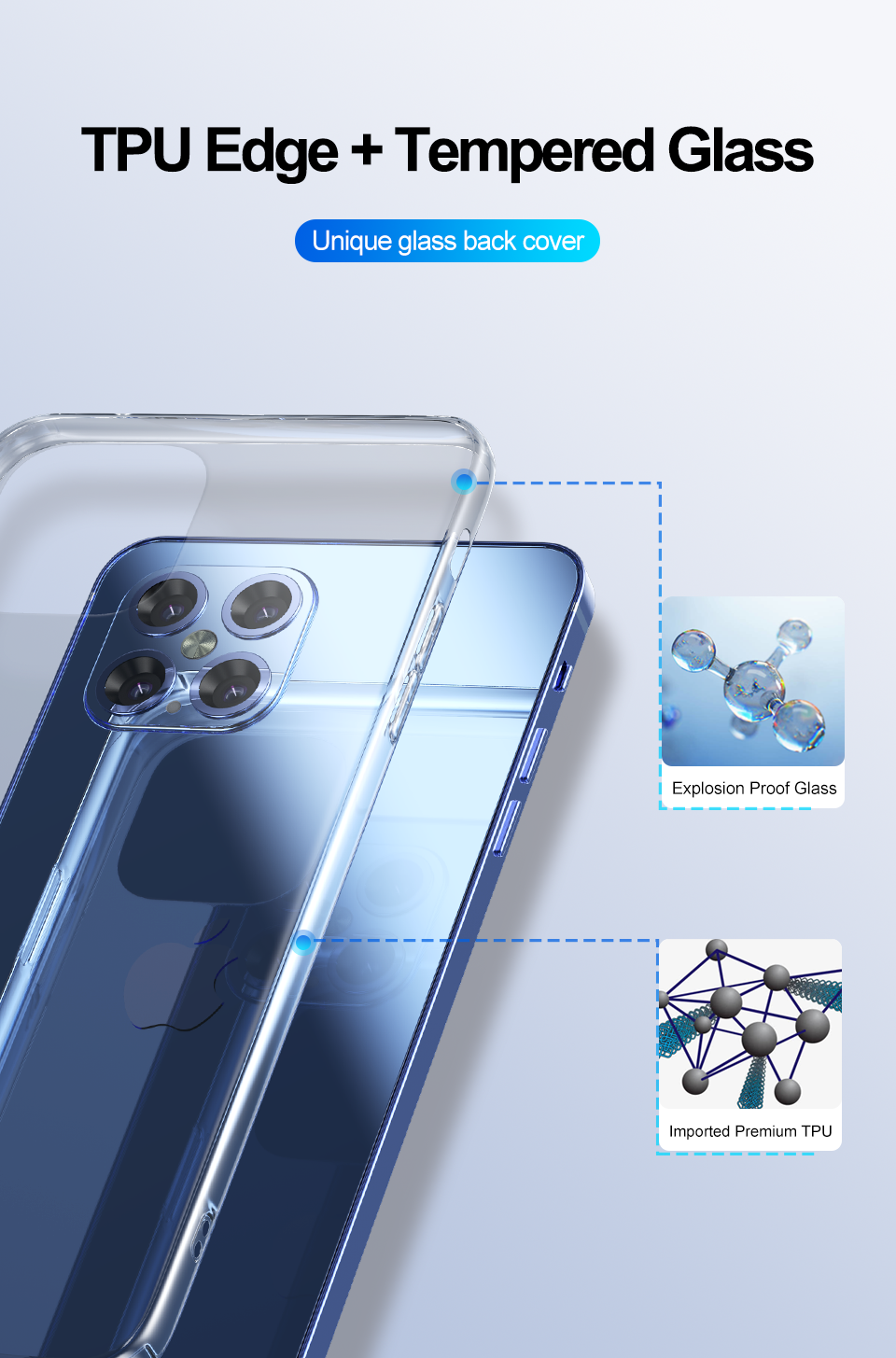 Luxury Ultra-thin Tempered Glass Case For iPhone 12 Mini
