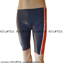 Black And Red White Sexy Long Leg Latex Boxer Shorts With Crotch Zipper Underwear Rubber Boyshorts Bottoms DK-0178