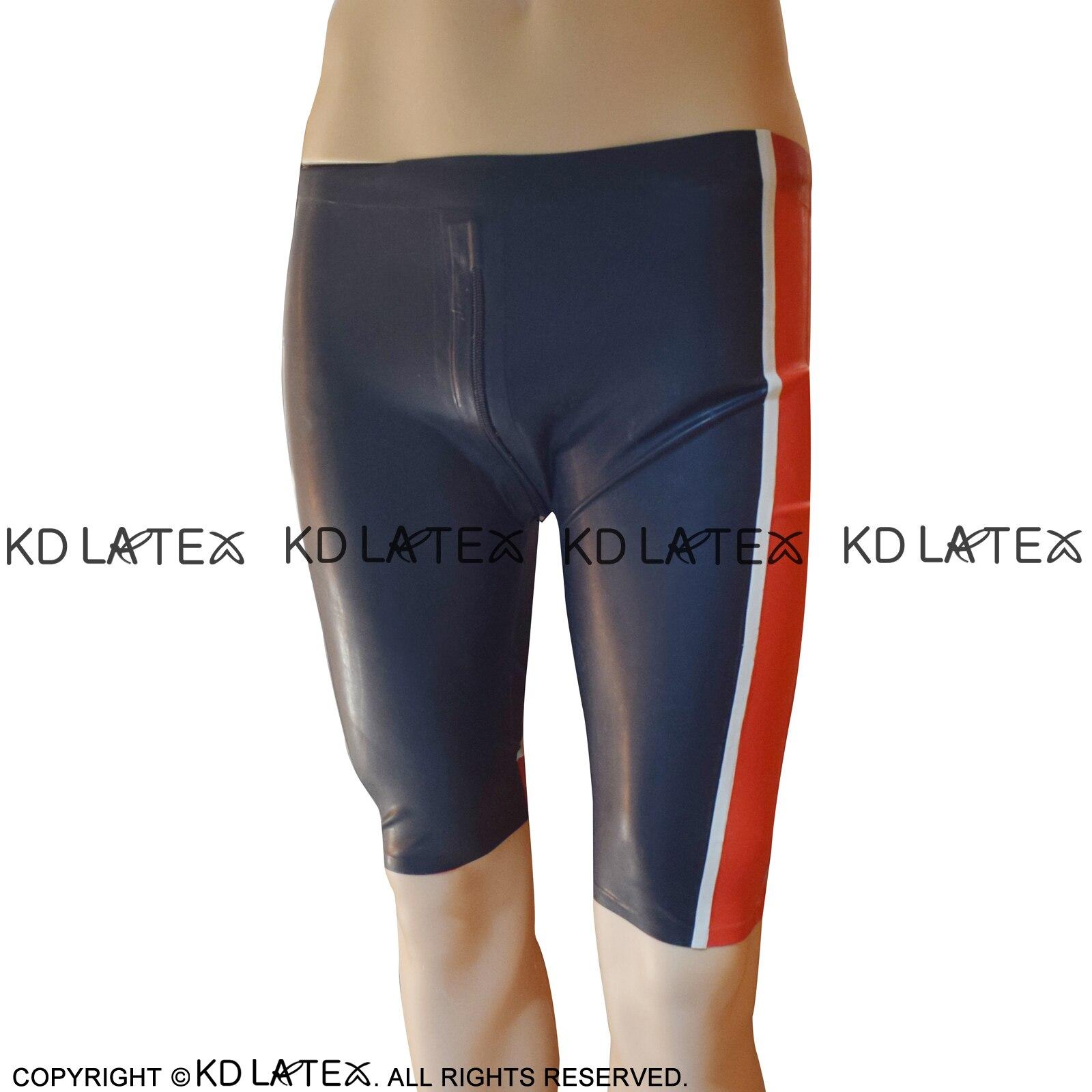 Noir avec rouge et blanc Sexy longue jambe Latex Boxer Shorts avec entrejambe fermeture éclair sous-vêtements en caoutchouc garçon Shorts bas DK-0178
