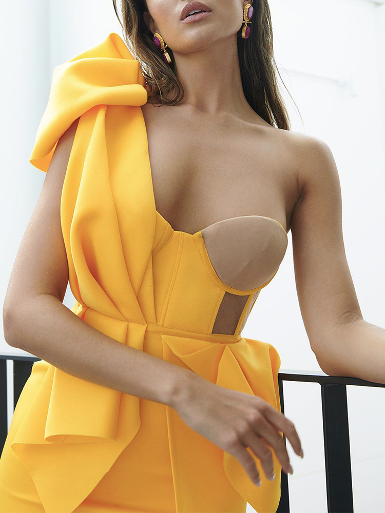 Bodycon Dresses Celebrity Ocstrade Evening-Club Ruffled Yellow Women Sexy One-Shoulder