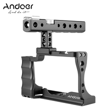 Andoer Camera Cage + Top Handle Kit Aluminum Alloy with Cold Shoe Mount Compatible with Canon EOS M50 DSLR Camera