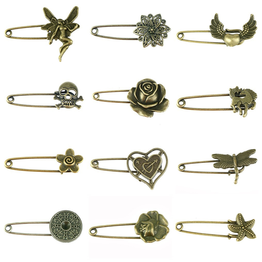 Long Safety  Flower Rose Owl   Starfish Vintage Style Bronze Color Paper Clip Brooch Bookmark Pins Many Design Mixed Wholesale