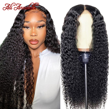 Human-Hair-Wigs Baby Hair Kinky Curly Lace-Front Ali-Annabelle 13x4 with Brazilian