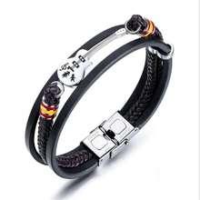 Men Jewelry Braided Leather Multilayer braiding Punk style bracelet bangle so150