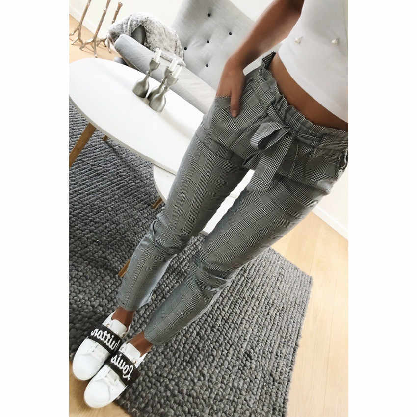 Pants Women брюки женские Pantalones Mujer Moda 2019 Plaid High Waist Drawstring Ankle Length Autumn Casual Trouser OY41*