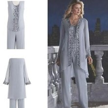 Mother Of The Bride Groom 3 Piece Pant Suit Silver Chiffon B