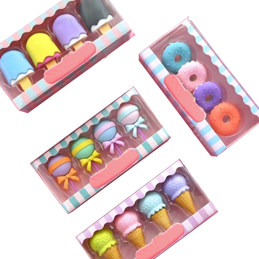 Korean Ice Cream Eraser Set /School Stationery Rubber Eraser Set/Kids Eraser Set 4 Boxes Per Lot