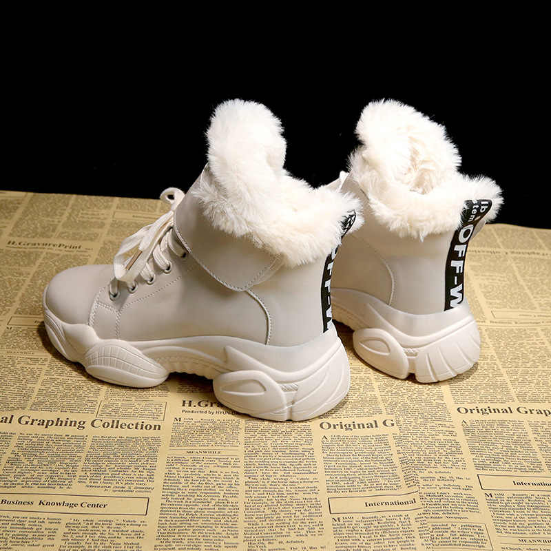 SWYIVY חורף מגפי נשים נעלי 2019 קרסול שלג מגפי נשים נעליים יומיומיות חם עבה וו לולאה לבן נעלי פלטפורמת נעל אישה