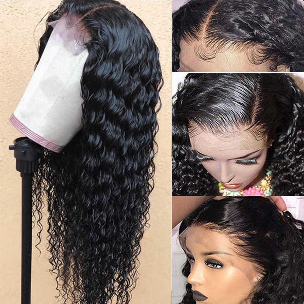 Onda profunda brasileira frontal 13x6 rendas frontal pré arrancadas com o cabelo do bebê 130% cor natural 100% remy cabelo humano piaoyi