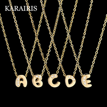 KARAIRIS Fashion Tiny Initial Necklace Zircon stainless steel 26 Letter Name Jewelry girlfriend
