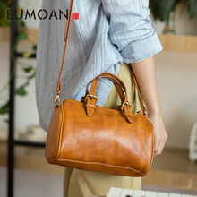 EUMOAN Leather original retro casual handbag first layer cowhide literary simple shoulder bag Messenger bag стоимость