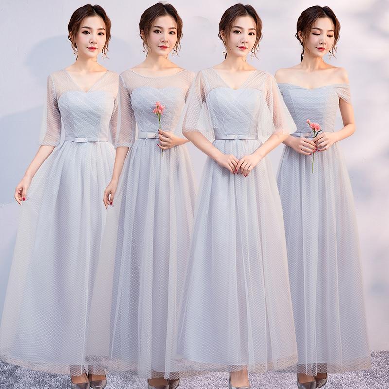 Gray Burgundy Bridesmaid Dresses Junior Formal Plus Size Elegant Dress Women For Wedding Party Sexy Dress Prom  A-Line Vestido