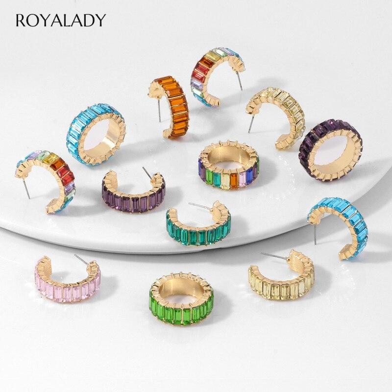 Fashion Rainbow Cz Ear Cuff For Women Girls 2020 Bohemia Hoop Round C-shape Statement Stud Earring Female Jewelry Brincos Gift