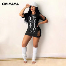 CM.YAYA Women Burn Out Hole Letter Print Mini Dress for Summer Casual O-neck Short Sleeve Limited Edition Slim Dresses