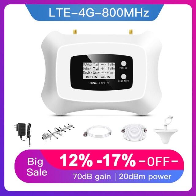 Hot! 4G LTE 800MHz wzmacniacz sygnału komórkowego 4g wzmacniacz telefonu komórkowego 4G wzmacniacz sygnału komórkowego z Yagi + antena sufitowa zestaw