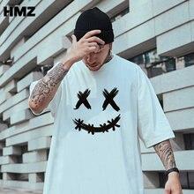 HMZ Hip Hop Men Oversized T Shirt Men Summer Smiley Printing Tee Streetwear Men Cotton T Shirts Male Clothing New Fashion Tops